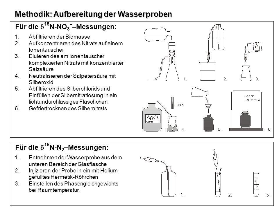 Methodik: Aufbereitung der Wasserproben Für die 15 N-NO 3 – –Messungen: 1.Abfiltrieren der Biomasse 2.Aufkonzentrieren des Nitrats auf einem Ionentaus