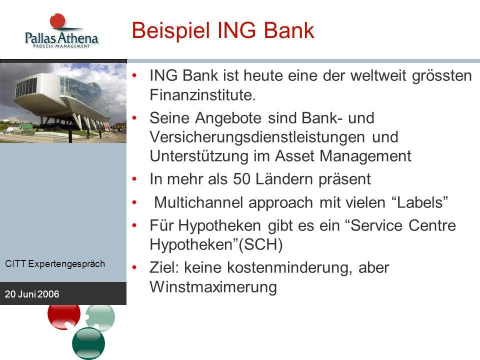 CITT Expertengespräch 20 Juni 2006 Beispiel ING Bank ING Bank ist heute eine der weltweit grössten Finanzinstitute. Seine Angebote sind Bank- und Vers