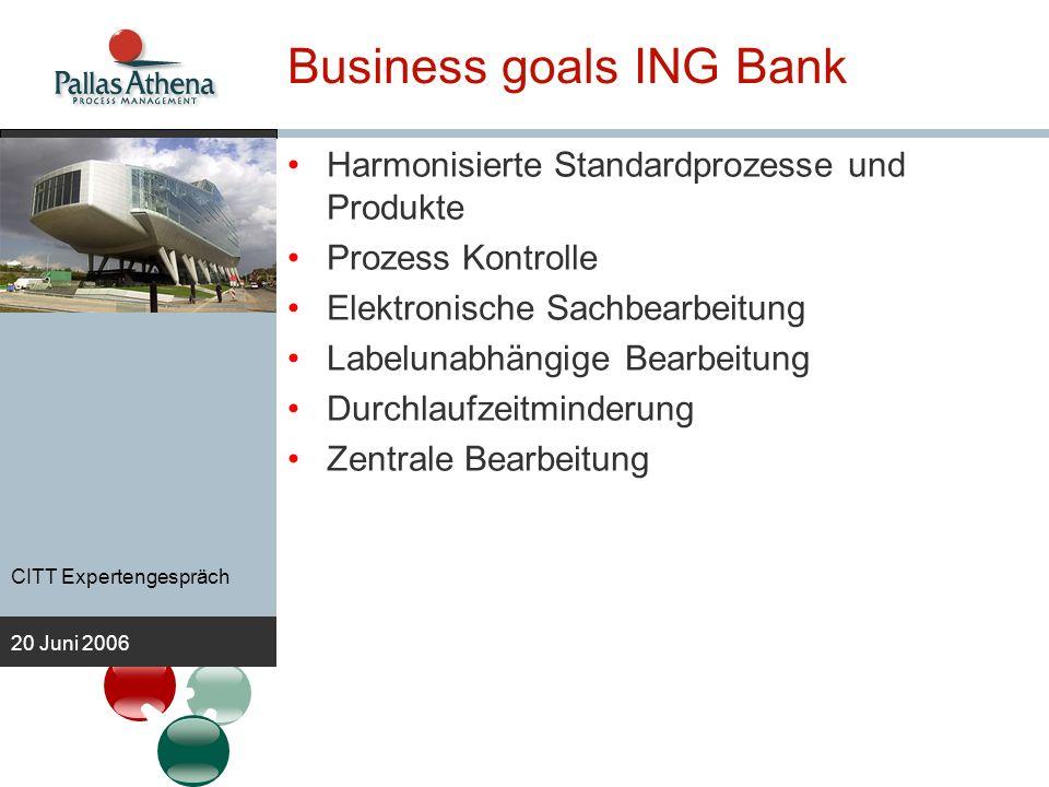 CITT Expertengespräch 20 Juni 2006 Business goals ING Bank Harmonisierte Standardprozesse und Produkte Prozess Kontrolle Elektronische Sachbearbeitung