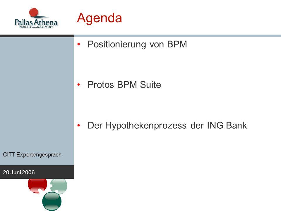CITT Expertengespräch 20 Juni 2006 Agenda Positionierung von BPM Protos BPM Suite Der Hypothekenprozess der ING Bank