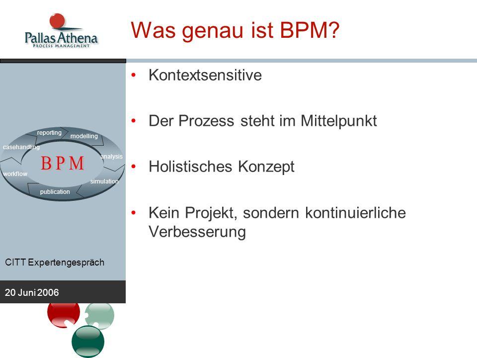 CITT Expertengespräch 20 Juni 2006 Anforderungen an BPM Software Easy to use –BPM stellt die Person mit seiner Tätigkeit in den Vordergrund –Die Person wird zum Treiber von IT Steuern – Messen –Regeln –Wie kann der Mitarbeiter seine Tätigkeiten am besten abarbeiten.