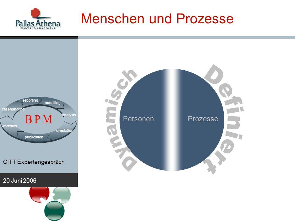 CITT Expertengespräch 20 Juni 2006 Protos BPM Suite modelling analysis publication simulation workflow casehandling reporting IT Organisationsentwurf Verwaltung Workflow case handling Prozessentwurf