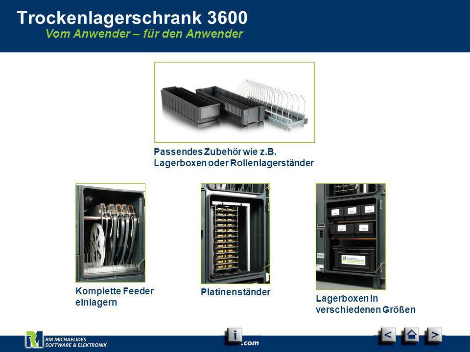 Vom Anwender – für den Anwender Trockenlagerschrank 3600 Komplette Feeder einlagern Passendes Zubehör wie z.B. Lagerboxen oder Rollenlagerständer Plat