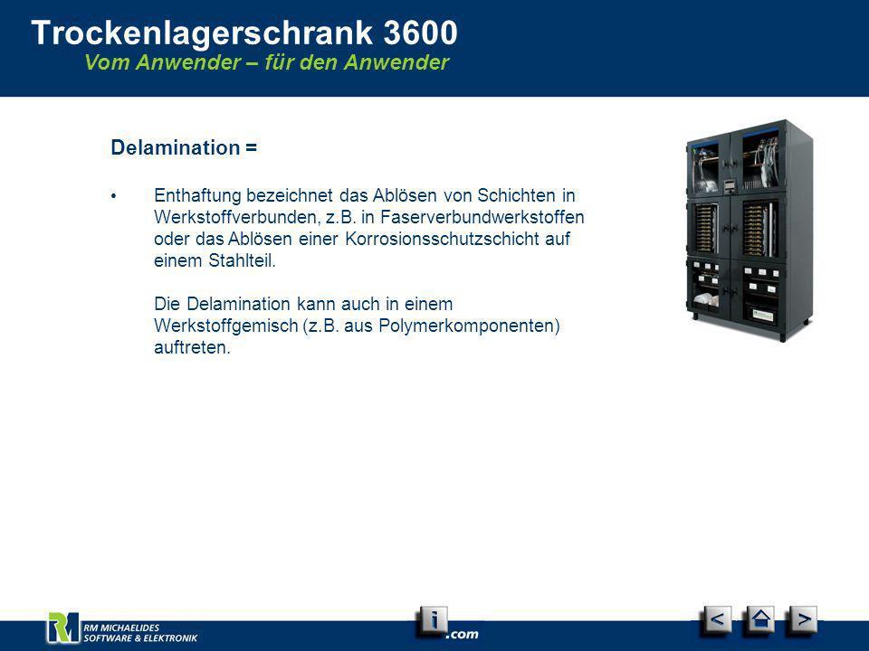 Vom Anwender – für den Anwender Trockenlagerschrank 3600 Delamination = Enthaftung bezeichnet das Ablösen von Schichten in Werkstoffverbunden, z.B. in