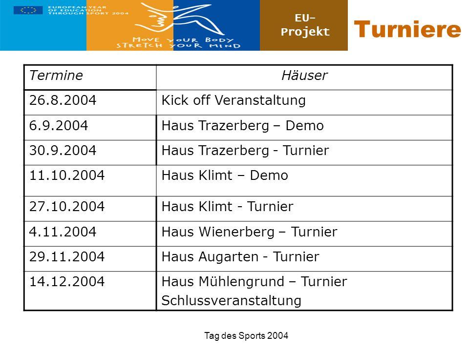 EU- Projekt Tag des Sports 2004 Turniere TermineHäuser 26.8.2004Kick off Veranstaltung 6.9.2004Haus Trazerberg – Demo 30.9.2004Haus Trazerberg - Turni
