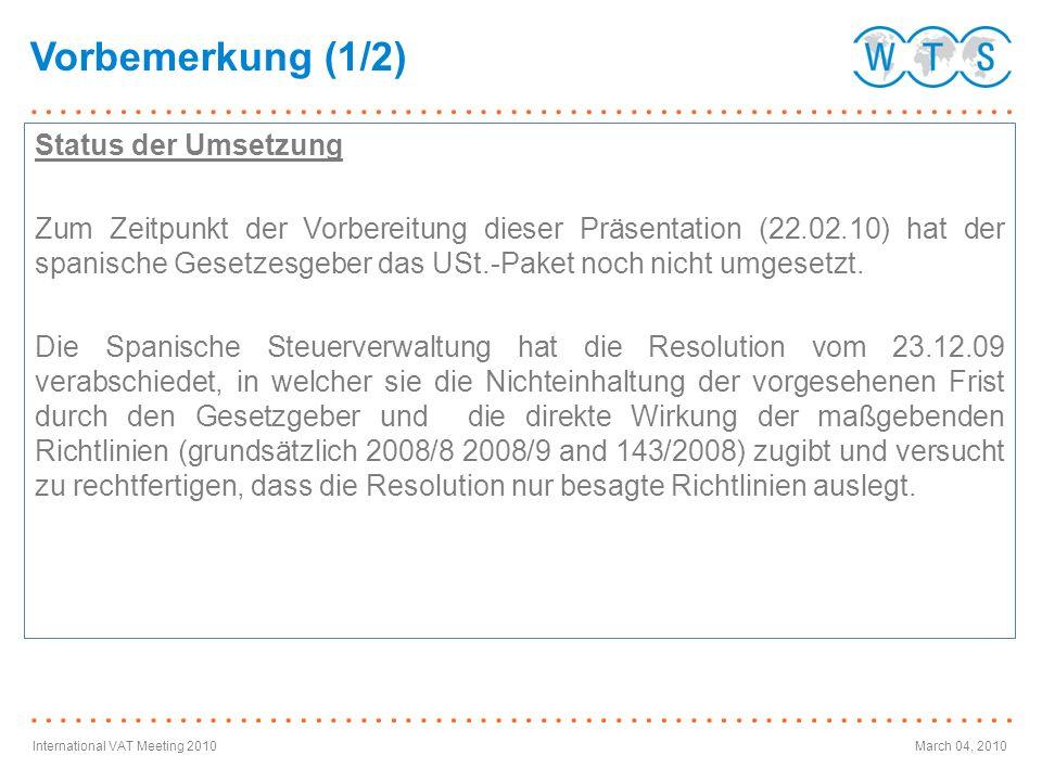 International VAT Meeting 2010March 04, 2010 An im Drittland ansässige Unternehmer erbrachte Katalogleistungen Erbringung von Katalogleistungen an im Drittland ansässige Unternehmer Allgemeine Regel: Artikel 44 Richtlinie 8/2008: Leistungsort am Ansässigkeitsort des Empfängers.