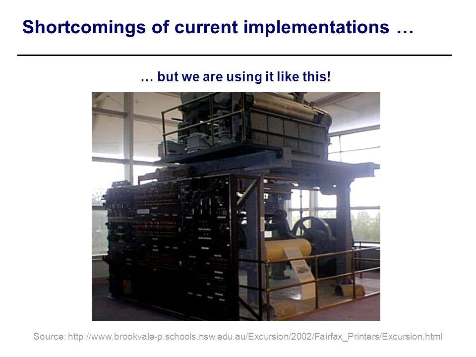 Shortcomings of current implementations … Source: http://www.brookvale-p.schools.nsw.edu.au/Excursion/2002/Fairfax_Printers/Excursion.html … but we ar