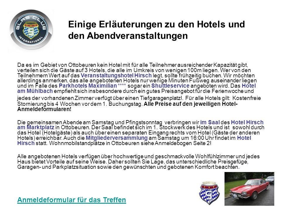 Einige Erläuterungen zu den Hotels und den Abendveranstaltungen Da es im Gebiet von Ottobeuren kein Hotel mit für alle Teilnehmer ausreichender Kapazität gibt, verteilen sich die Gäste auf 3 Hotels, die alle im Umkreis von wenigen 100m liegen.
