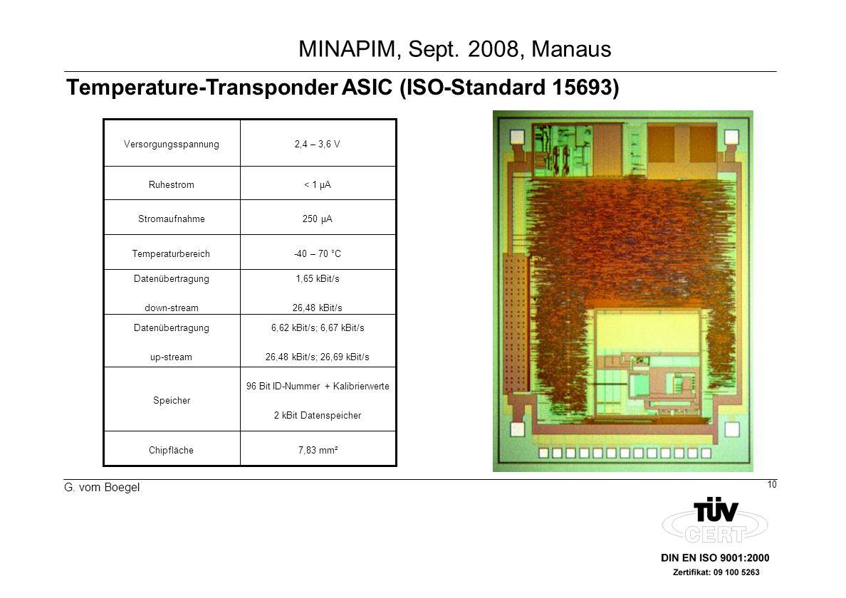 10 G. vom Boegel MINAPIM, Sept. 2008, Manaus 7,83 mm²Chipfläche 96 Bit ID-Nummer + Kalibrierwerte 2 kBit Datenspeicher Speicher 6,62 kBit/s; 6,67 kBit