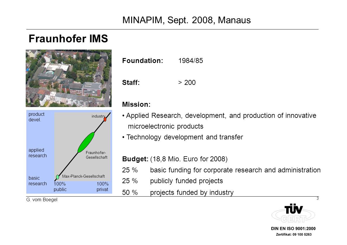 3 G. vom Boegel MINAPIM, Sept. 2008, Manaus Foundation:1984/85 Staff:> 200 Mission: Applied Research, development, and production of innovative microe