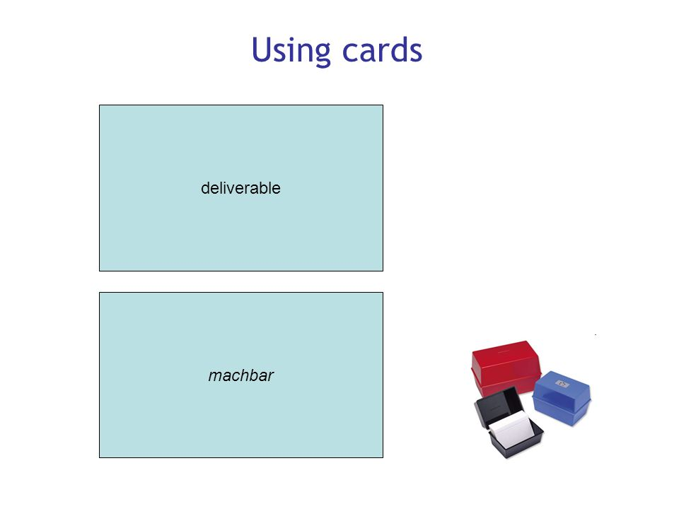 Using cards deliverable machbar