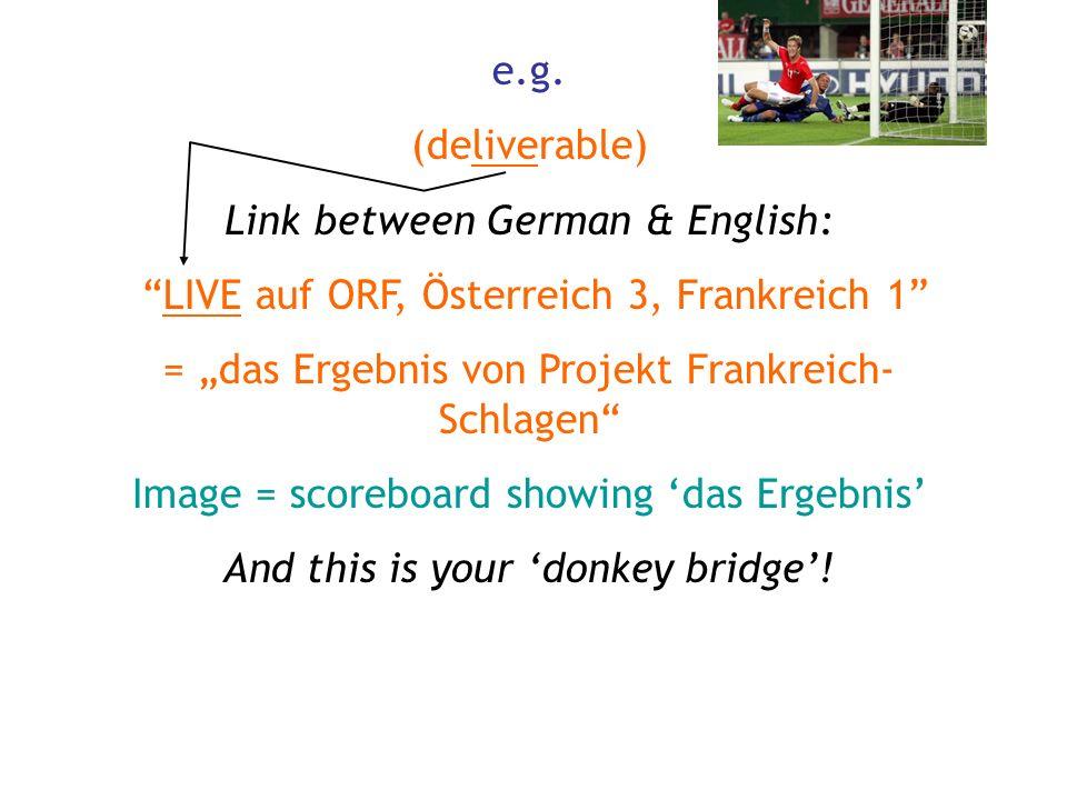 e.g. (deliverable) Link between German & English: LIVE auf ORF, Österreich 3, Frankreich 1 = das Ergebnis von Projekt Frankreich- Schlagen Image = sco
