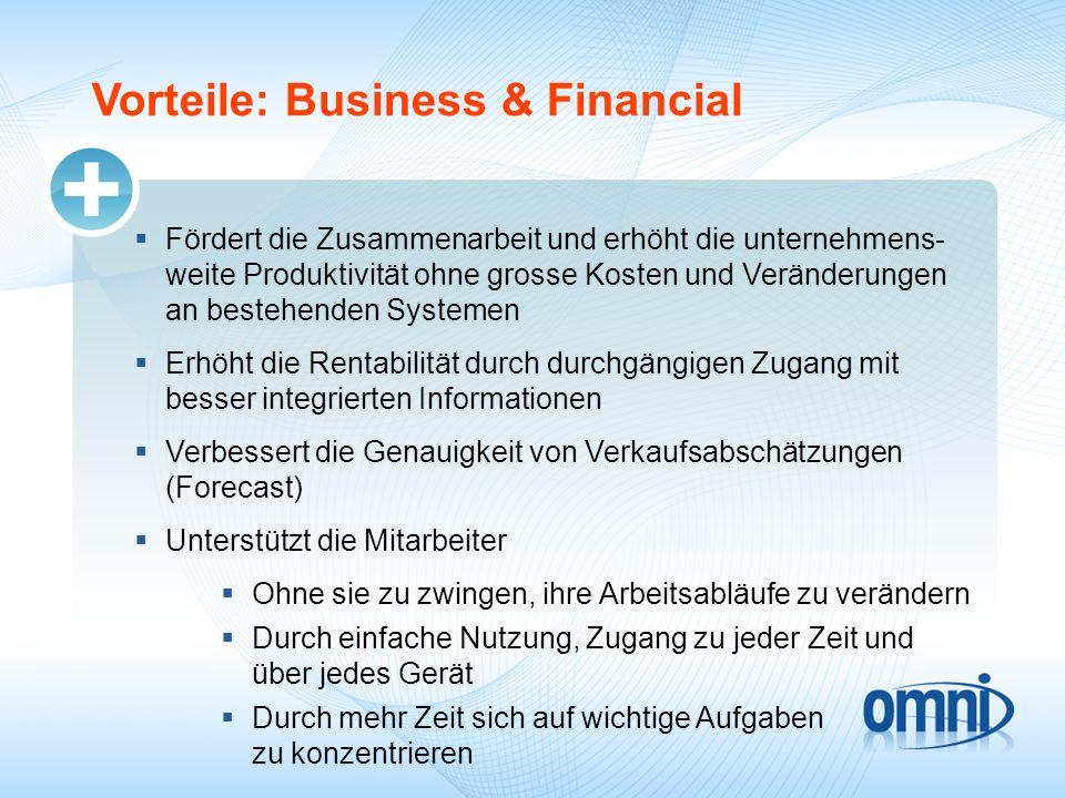Vorteile: Business & Financial Fördert die Zusammenarbeit und erhöht die unternehmens- weite Produktivität ohne grosse Kosten und Veränderungen an bes