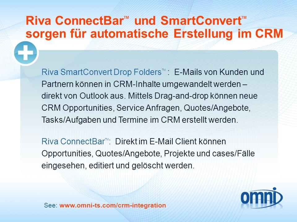 Riva ConnectBar TM und SmartConvert TM sorgen für automatische Erstellung im CRM Riva SmartConvert Drop Folders TM : E-Mails von Kunden und Partnern k