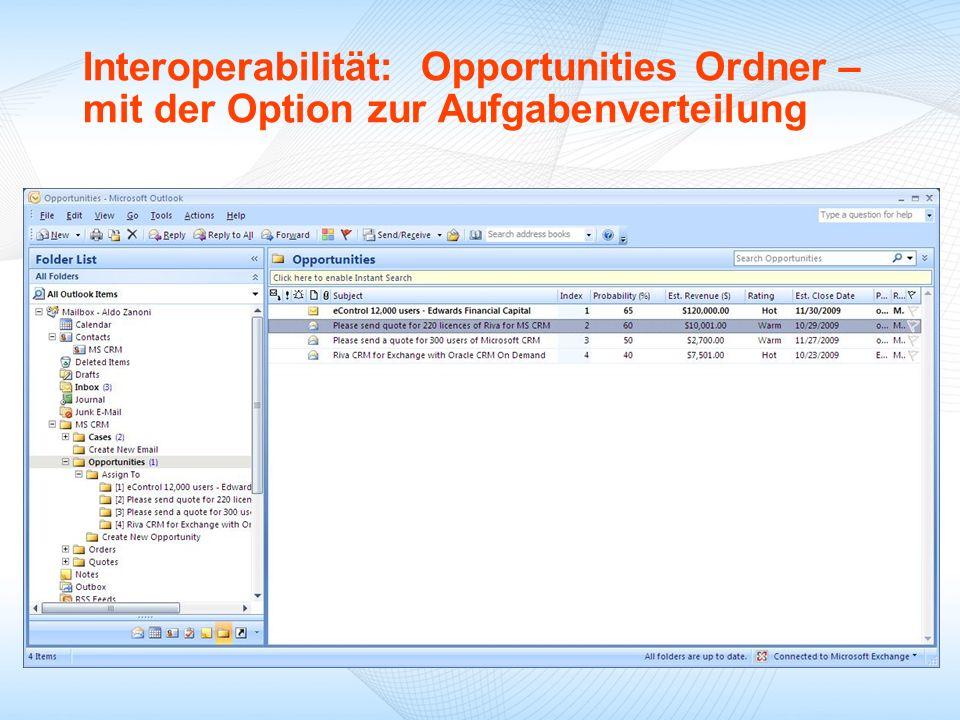 Interoperabilität: Opportunities Ordner – mit der Option zur Aufgabenverteilung