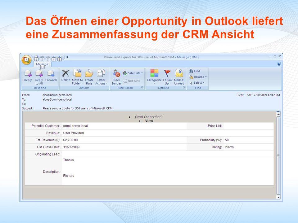 Das Öffnen einer Opportunity in Outlook liefert eine Zusammenfassung der CRM Ansicht