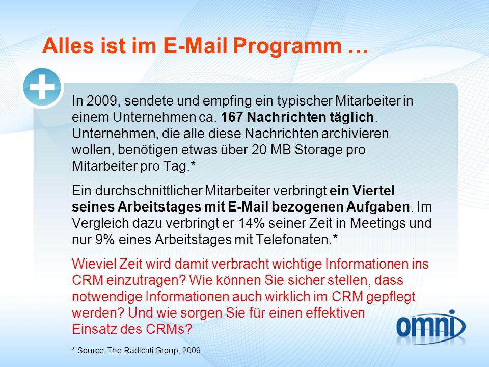 Alles ist im E-Mail Programm … In 2009, sendete und empfing ein typischer Mitarbeiter in einem Unternehmen ca. 167 Nachrichten täglich. Unternehmen, d