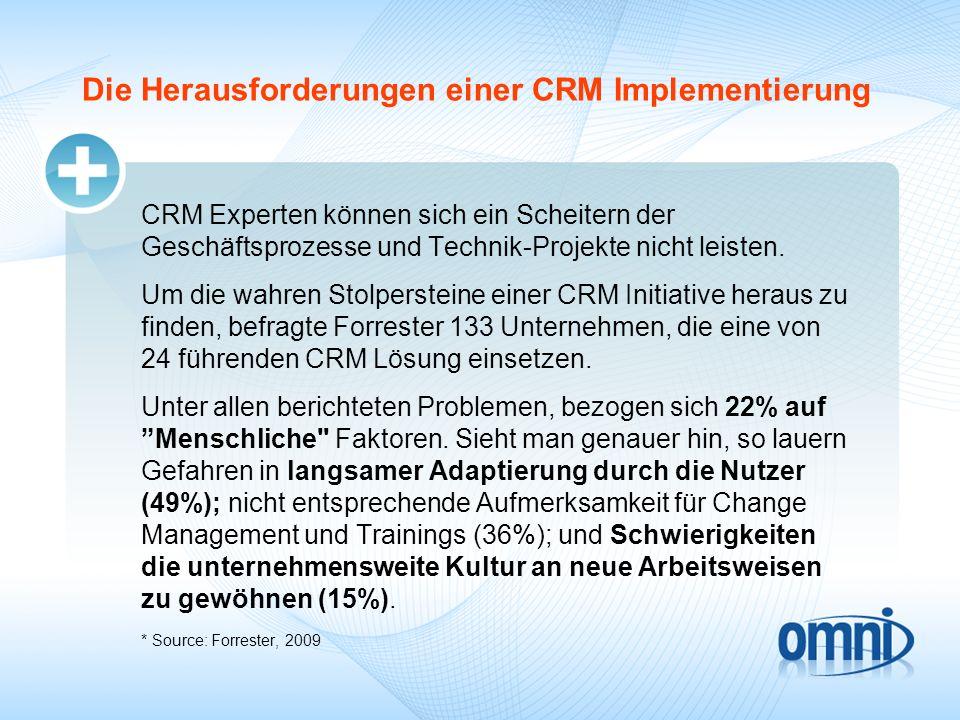 Die Herausforderungen einer CRM Implementierung CRM Experten können sich ein Scheitern der Geschäftsprozesse und Technik-Projekte nicht leisten. Um di