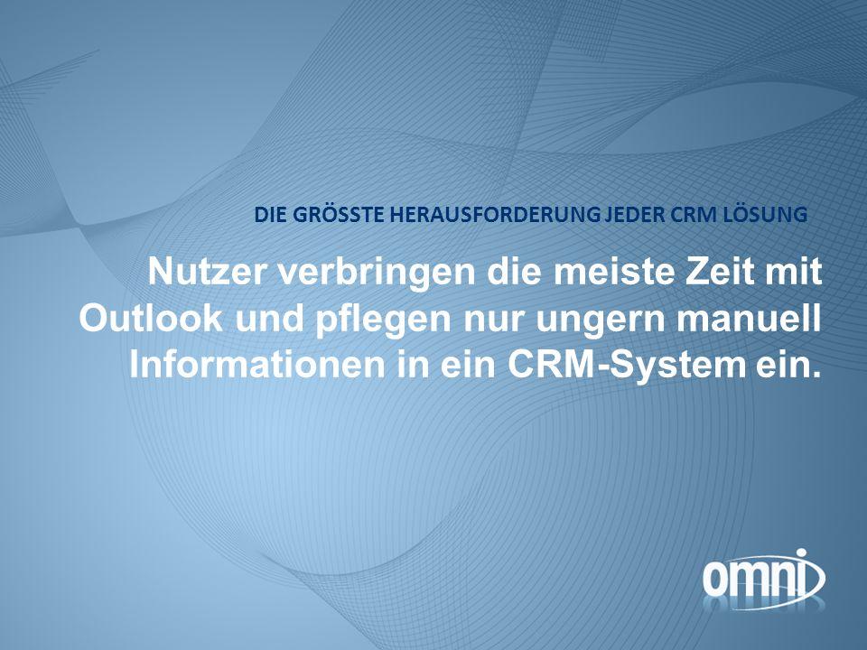 Nutzer verbringen die meiste Zeit mit Outlook und pflegen nur ungern manuell Informationen in ein CRM-System ein. DIE GRÖSSTE HERAUSFORDERUNG JEDER CR