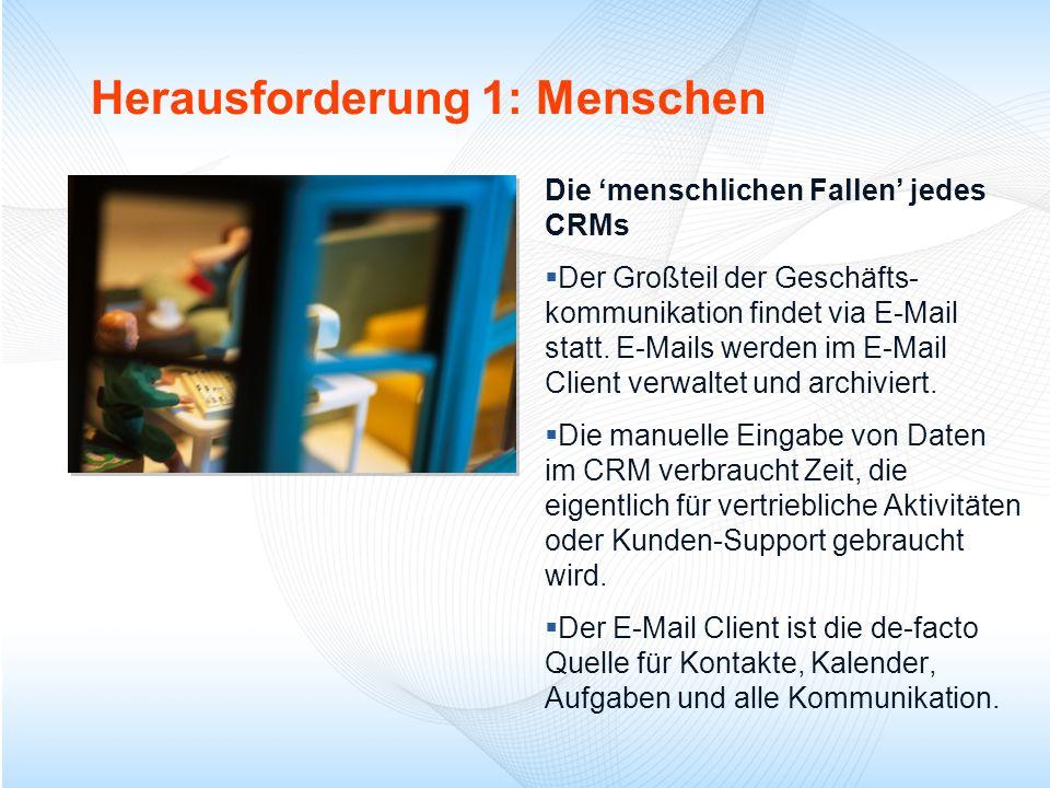 Herausforderung 1: Menschen Die menschlichen Fallen jedes CRMs Der Großteil der Geschäfts- kommunikation findet via E-Mail statt. E-Mails werden im E-