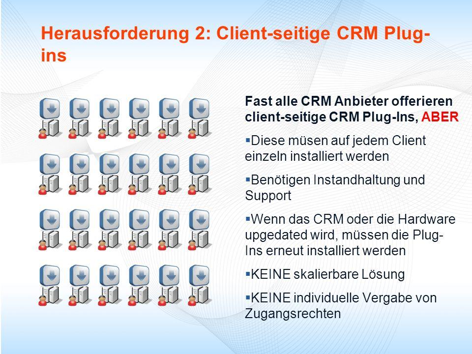 Herausforderung 2: Client-seitige CRM Plug- ins Fast alle CRM Anbieter offerieren client-seitige CRM Plug-Ins, ABER Diese müsen auf jedem Client einze