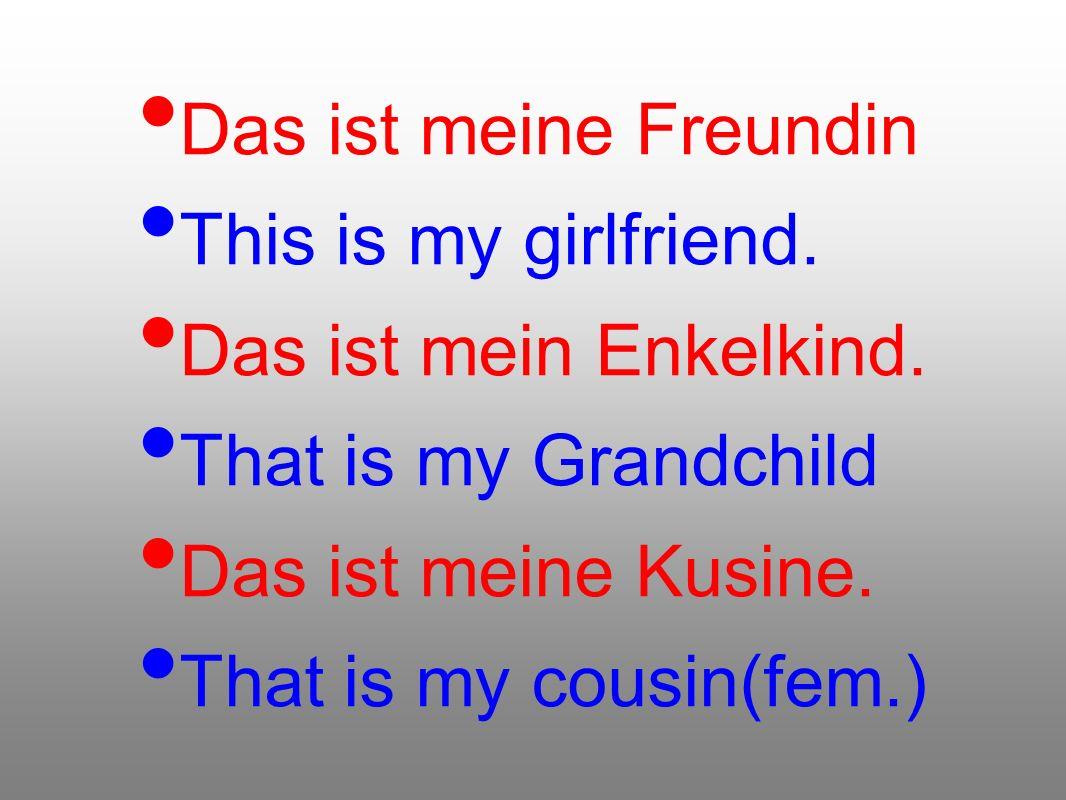 Das ist meine Freundin This is my girlfriend. Das ist mein Enkelkind. That is my Grandchild Das ist meine Kusine. That is my cousin(fem.)