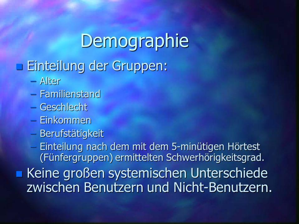 Demographie n Einteilung der Gruppen: –Alter –Familienstand –Geschlecht –Einkommen –Berufstätigkeit –Einteilung nach dem mit dem 5-minütigen Hörtest (