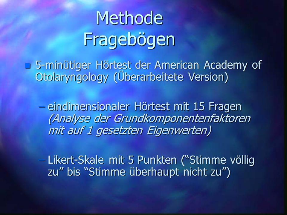 Methode Fragebögen n 5-minütiger Hörtest der American Academy of Otolaryngology (Überarbeitete Version) –eindimensionaler Hörtest mit 15 Fragen (Analy
