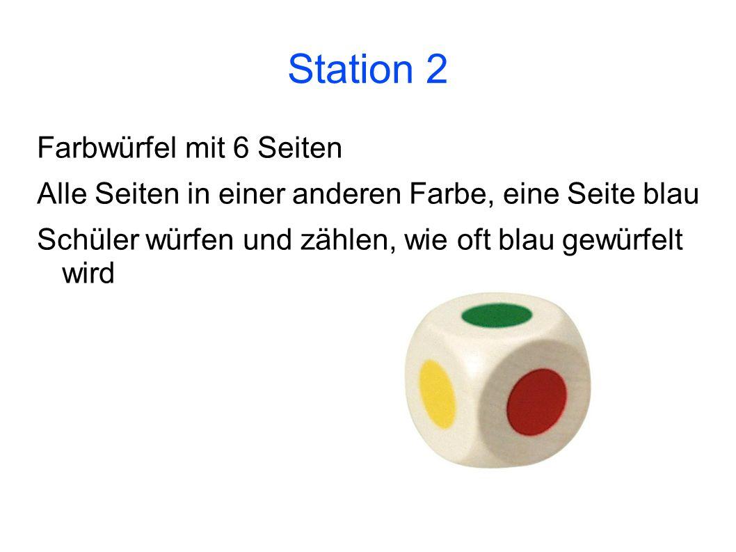 Station 2 Farbwürfel mit 6 Seiten Alle Seiten in einer anderen Farbe, eine Seite blau Schüler würfen und zählen, wie oft blau gewürfelt wird