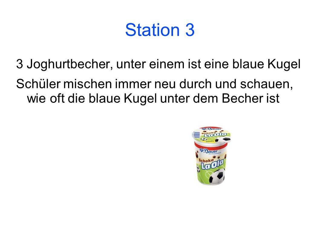 Station 3 3 Joghurtbecher, unter einem ist eine blaue Kugel Schüler mischen immer neu durch und schauen, wie oft die blaue Kugel unter dem Becher ist