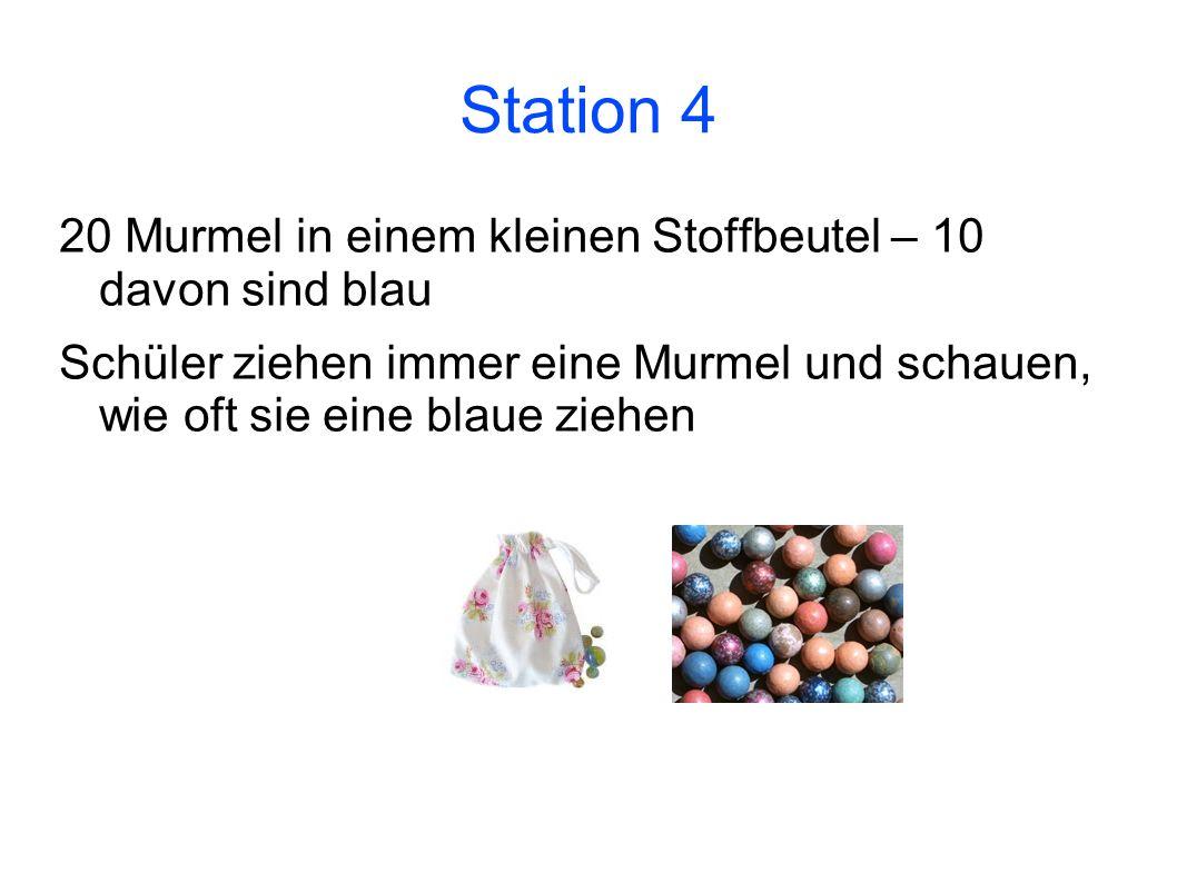 Station 4 20 Murmel in einem kleinen Stoffbeutel – 10 davon sind blau Schüler ziehen immer eine Murmel und schauen, wie oft sie eine blaue ziehen