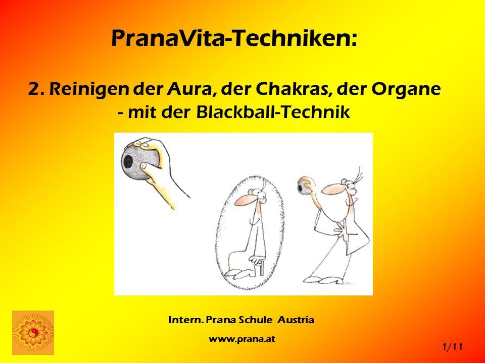 1/11 Intern. Prana Schule Austria www.prana.at PranaVita-Techniken: 2. Reinigen der Aura, der Chakras, der Organe - mit der Blackball-Technik