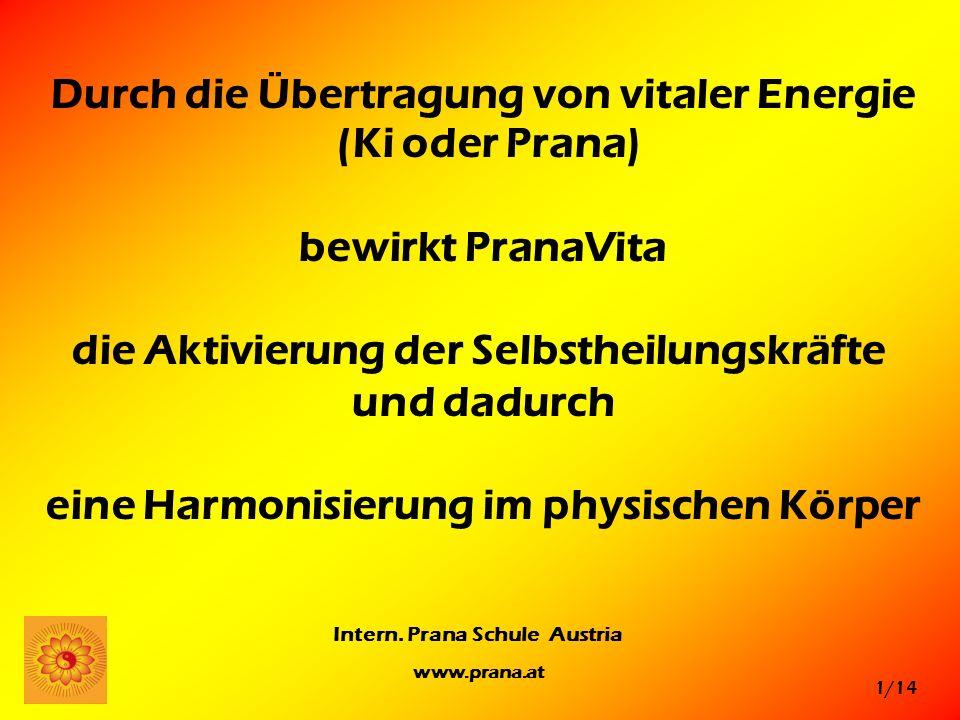 1/14 Intern. Prana Schule Austria www.prana.at Durch die Übertragung von vitaler Energie (Ki oder Prana) bewirkt PranaVita die Aktivierung der Selbsth