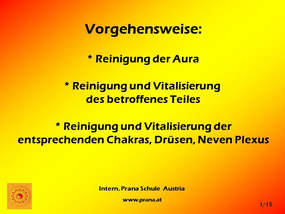 1/15 Intern. Prana Schule Austria www.prana.at Vorgehensweise: * Reinigung der Aura * Reinigung und Vitalisierung des betroffenes Teiles * Reinigung u