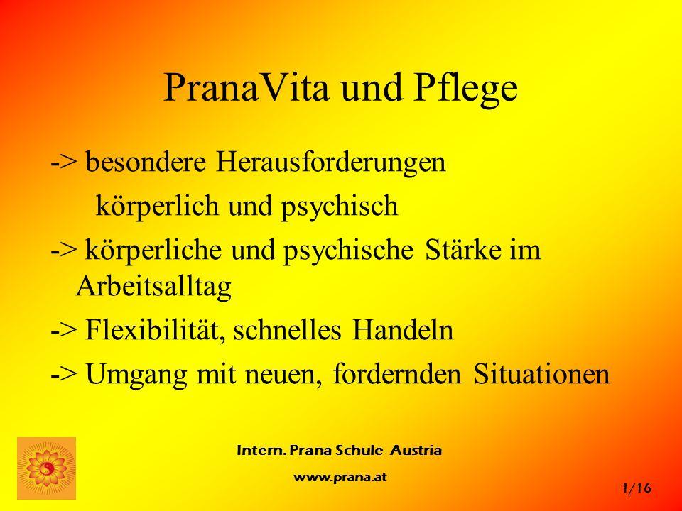 1/16 Intern. Prana Schule Austria www.prana.at PranaVita und Pflege -> besondere Herausforderungen körperlich und psychisch -> körperliche und psychis