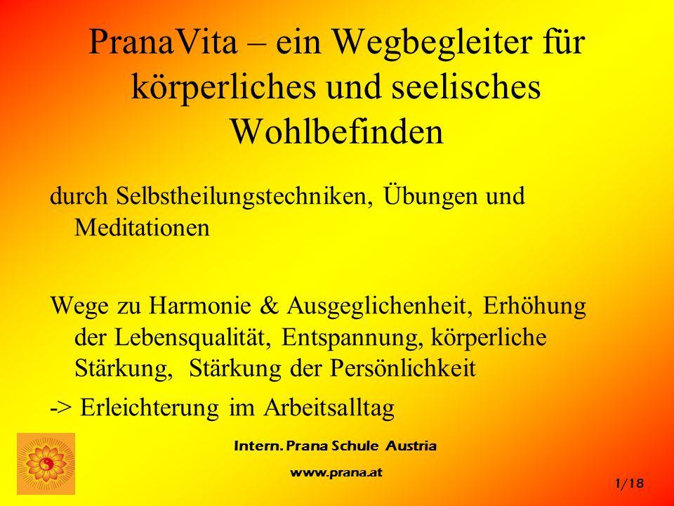 1/18 Intern. Prana Schule Austria www.prana.at PranaVita – ein Wegbegleiter für körperliches und seelisches Wohlbefinden durch Selbstheilungstechniken
