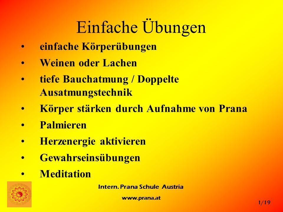 1/19 Intern. Prana Schule Austria www.prana.at Einfache Übungen einfache Körperübungen Weinen oder Lachen tiefe Bauchatmung / Doppelte Ausatmungstechn