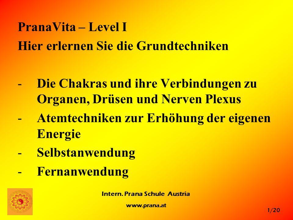 1/20 Intern. Prana Schule Austria www.prana.at PranaVita – Level I Hier erlernen Sie die Grundtechniken -Die Chakras und ihre Verbindungen zu Organen,