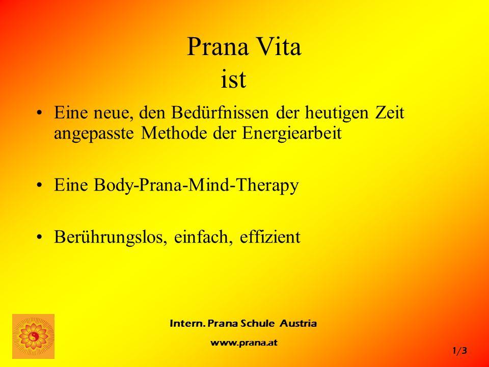 1/3 Intern. Prana Schule Austria www.prana.at Prana Vita ist Eine neue, den Bedürfnissen der heutigen Zeit angepasste Methode der Energiearbeit Eine B
