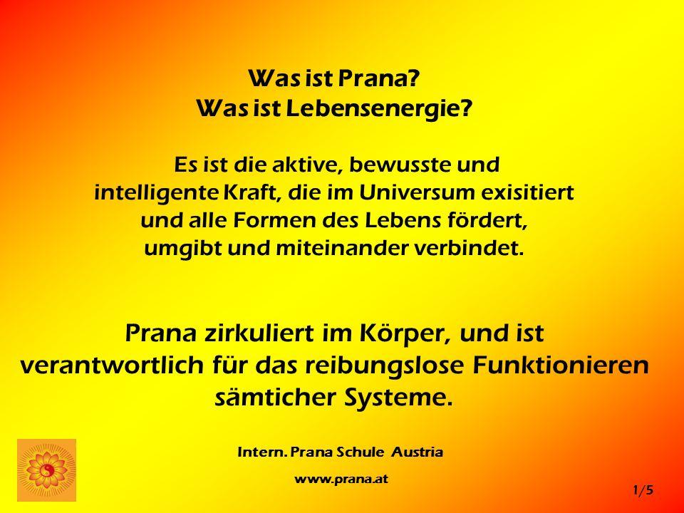 1/5 Intern. Prana Schule Austria www.prana.at Was ist Prana? Was ist Lebensenergie? Es ist die aktive, bewusste und intelligente Kraft, die im Univers