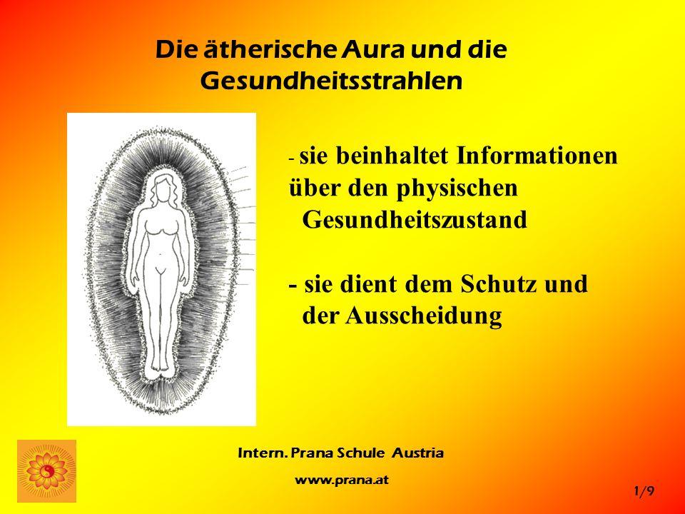 1/9 Intern. Prana Schule Austria www.prana.at Die ätherische Aura und die Gesundheitsstrahlen - sie beinhaltet Informationen über den physischen Gesun