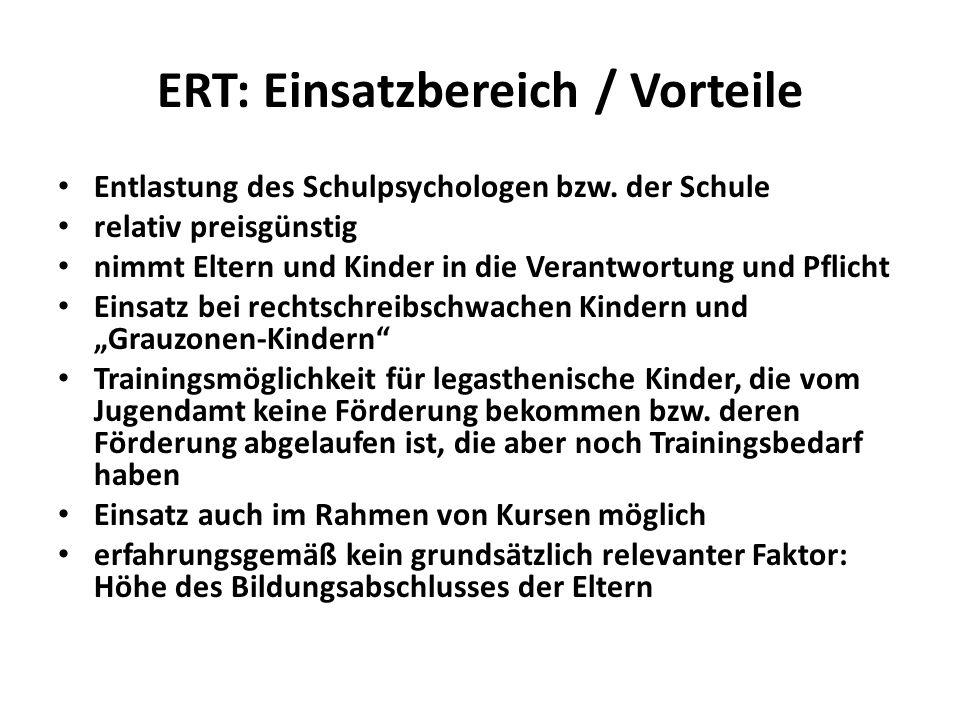 ERT: Einsatzbereich / Vorteile Entlastung des Schulpsychologen bzw. der Schule relativ preisgünstig nimmt Eltern und Kinder in die Verantwortung und P