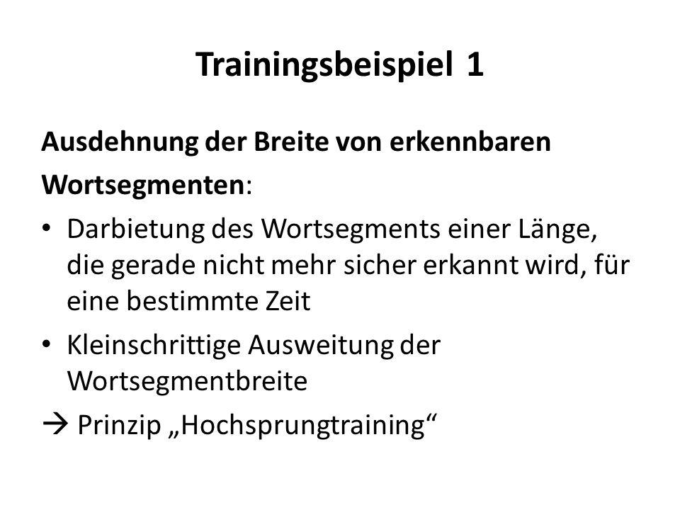 Trainingsbeispiel 1 Ausdehnung der Breite von erkennbaren Wortsegmenten: Darbietung des Wortsegments einer Länge, die gerade nicht mehr sicher erkannt