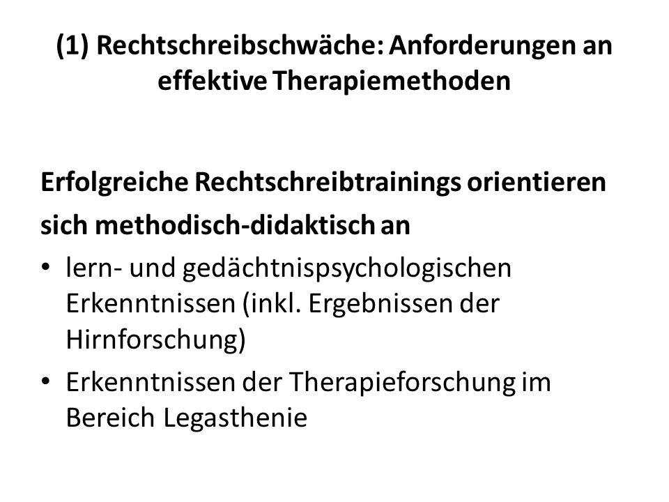 (1) Rechtschreibschwäche: Anforderungen an effektive Therapiemethoden Erfolgreiche Rechtschreibtrainings orientieren sich methodisch-didaktisch an ler