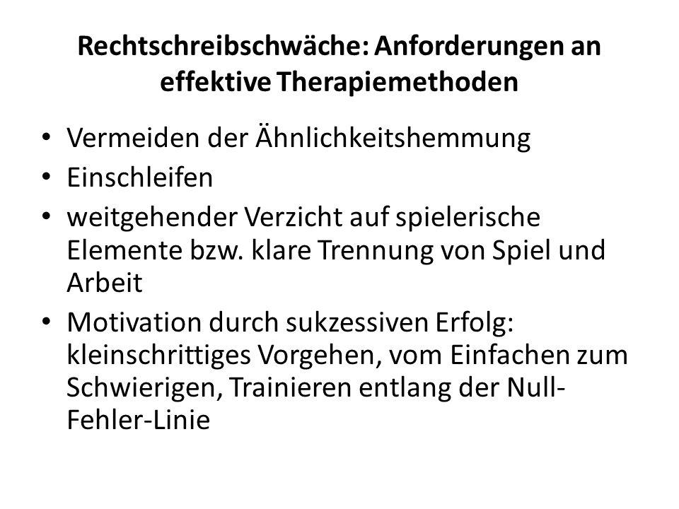 Rechtschreibschwäche: Anforderungen an effektive Therapiemethoden Vermeiden der Ähnlichkeitshemmung Einschleifen weitgehender Verzicht auf spielerisch