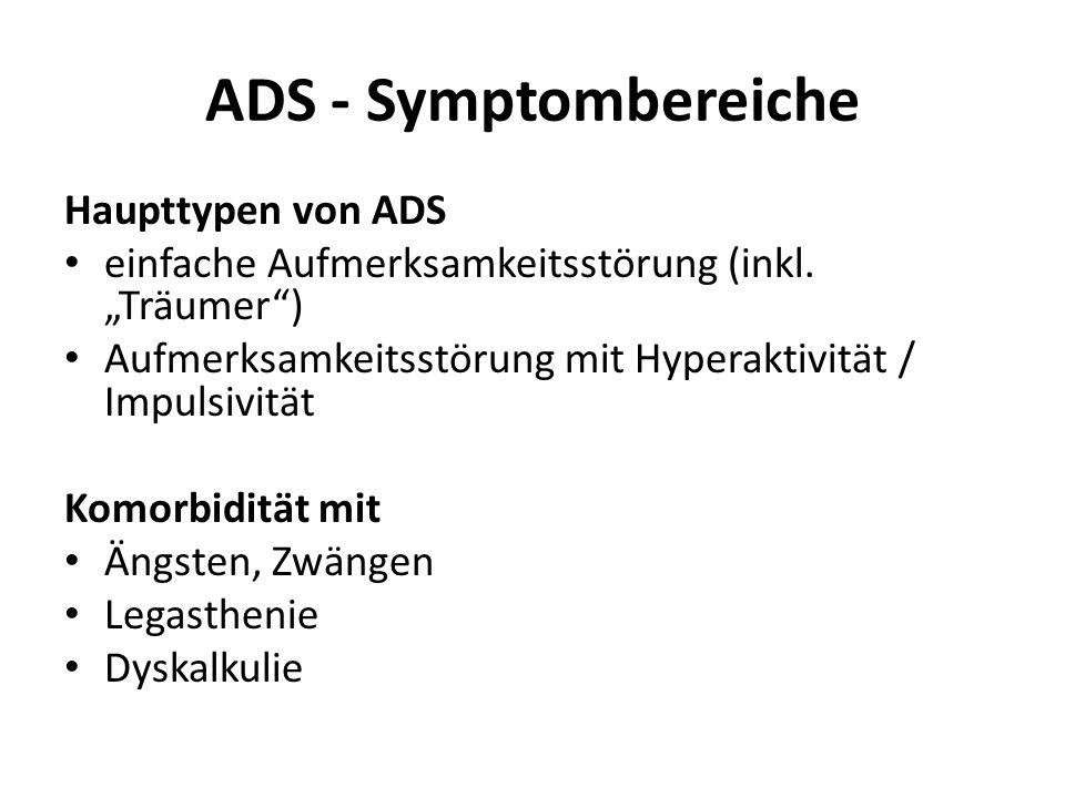 ADS - Symptombereiche Haupttypen von ADS einfache Aufmerksamkeitsstörung (inkl. Träumer) Aufmerksamkeitsstörung mit Hyperaktivität / Impulsivität Komo