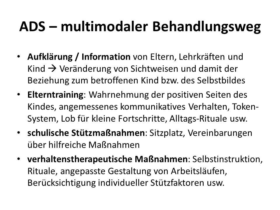 ADS – multimodaler Behandlungsweg Aufklärung / Information von Eltern, Lehrkräften und Kind Veränderung von Sichtweisen und damit der Beziehung zum be