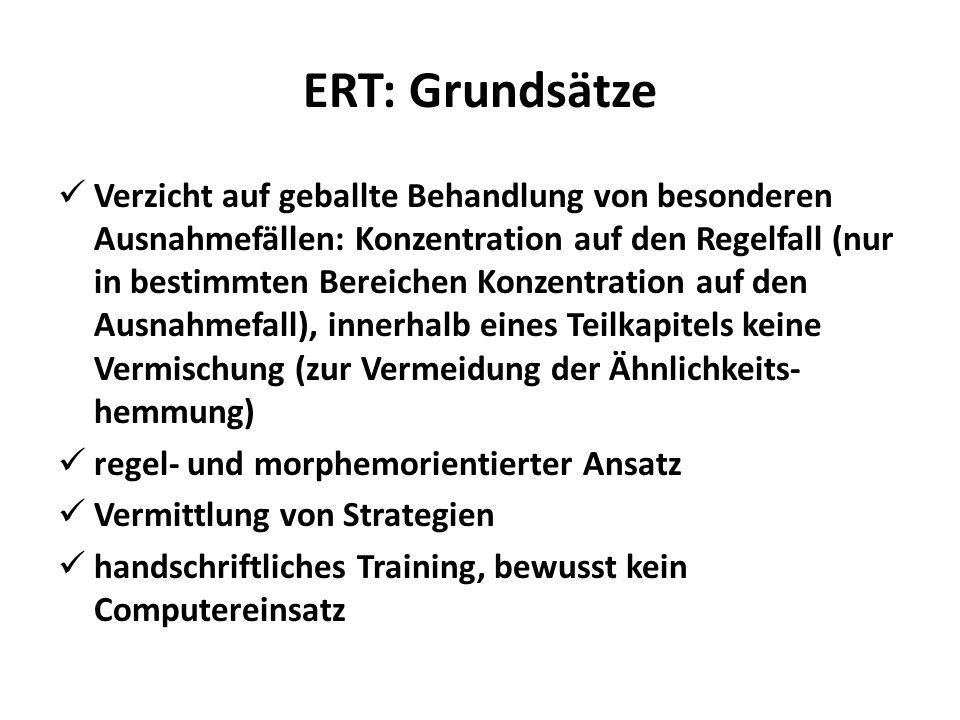 ERT: Grundsätze Verzicht auf geballte Behandlung von besonderen Ausnahmefällen: Konzentration auf den Regelfall (nur in bestimmten Bereichen Konzentra