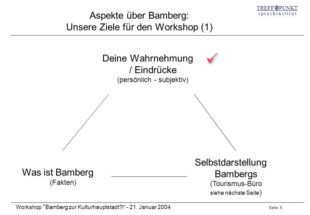Seite: 6 Workshop Bamberg zur Kulturhauptstadt?! - 21. Januar 2004 TREFF PUNKT s p r a c h i n s t i t u t Aspekte über Bamberg: Unsere Ziele für den