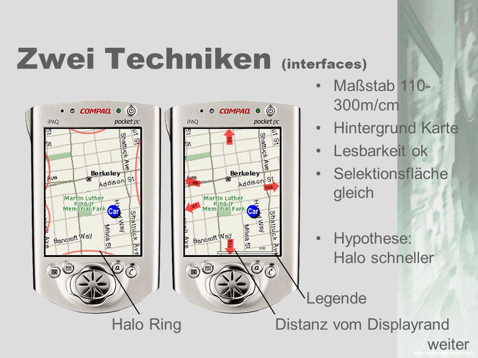 Zwei Techniken (interfaces) Maßstab 110- 300m/cm Hintergrund Karte Lesbarkeit ok Selektionsfläche gleich Hypothese: Halo schneller Halo Ring Distanz v